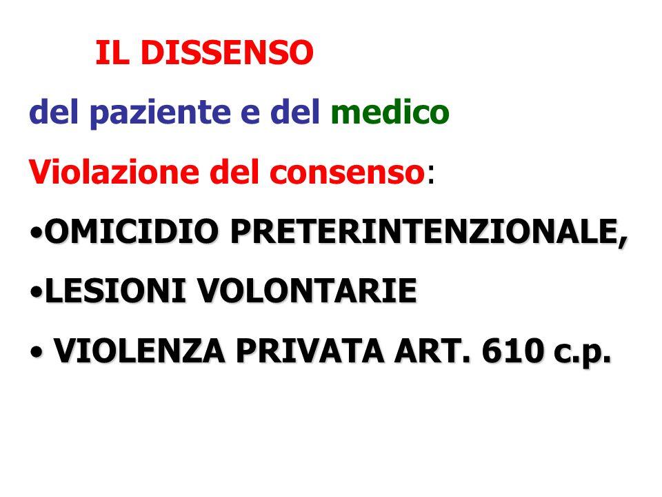 IL DISSENSO del paziente e del medico Violazione del consenso: OMICIDIO PRETERINTENZIONALE,OMICIDIO PRETERINTENZIONALE, LESIONI VOLONTARIELESIONI VOLONTARIE VIOLENZA PRIVATA ART.