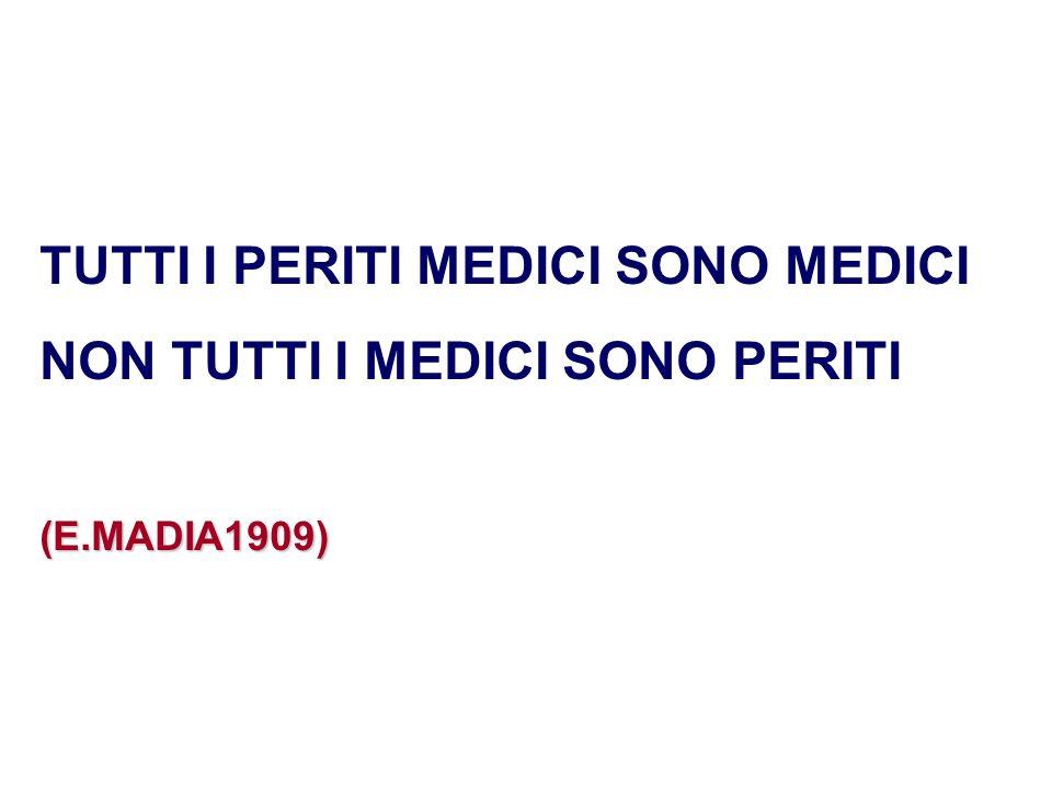 TUTTI I PERITI MEDICI SONO MEDICI NON TUTTI I MEDICI SONO PERITI(E.MADIA1909)