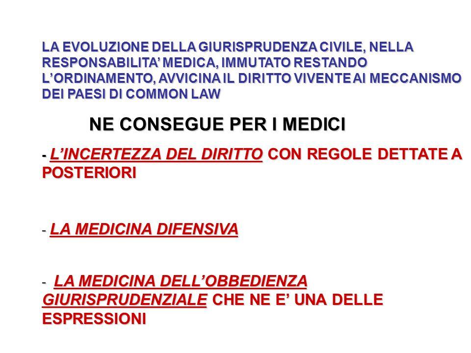 LA EVOLUZIONE DELLA GIURISPRUDENZA CIVILE, NELLA RESPONSABILITA MEDICA, IMMUTATO RESTANDO LORDINAMENTO, AVVICINA IL DIRITTO VIVENTE AI MECCANISMO DEI PAESI DI COMMON LAW NE CONSEGUE PER I MEDICI - LINCERTEZZA DEL DIRITTO CON REGOLE DETTATE A POSTERIORI - LA MEDICINA DIFENSIVA - LA MEDICINA DELLOBBEDIENZA GIURISPRUDENZIALE CHE NE E UNA DELLE ESPRESSIONI