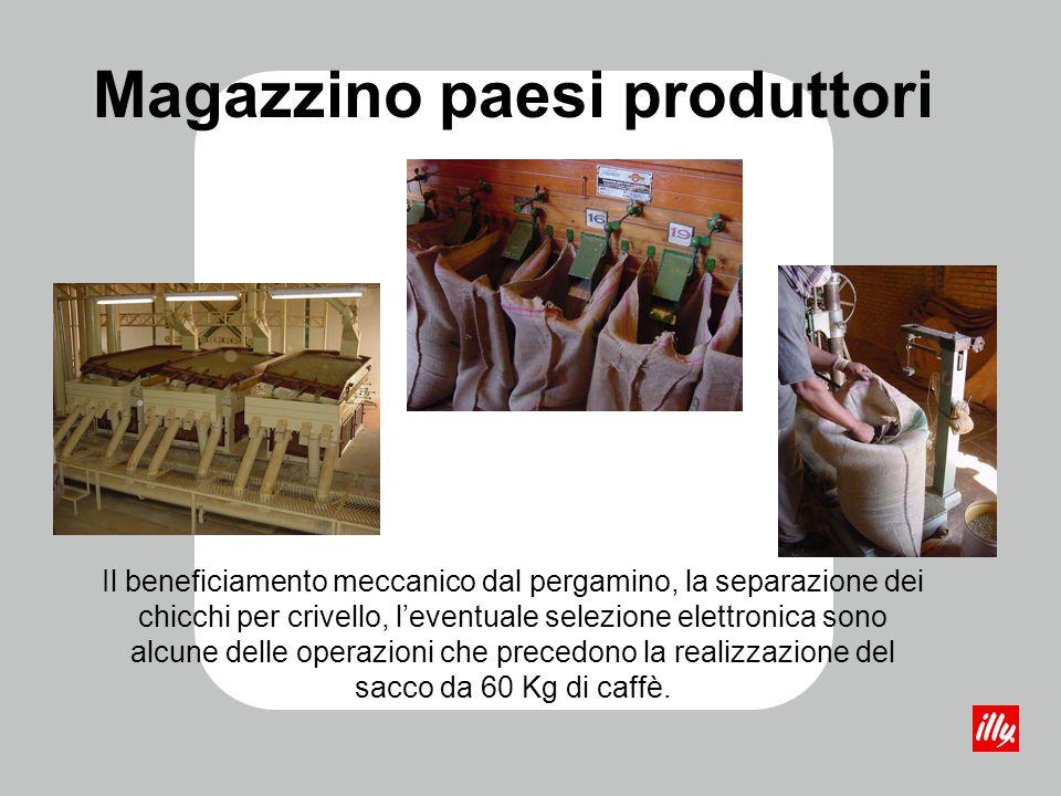 Magazzino paesi produttori Il beneficiamento meccanico dal pergamino, la separazione dei chicchi per crivello, leventuale selezione elettronica sono a