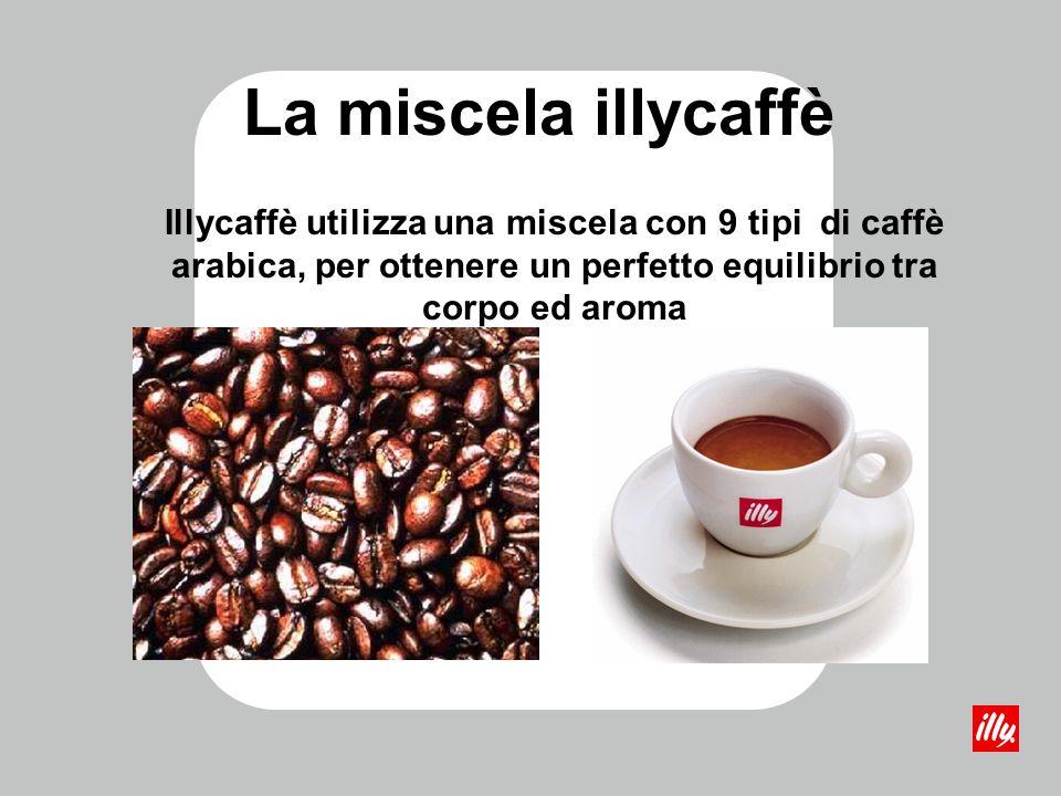 La miscela illycaffè Illycaffè utilizza una miscela con 9 tipi di caffè arabica, per ottenere un perfetto equilibrio tra corpo ed aroma