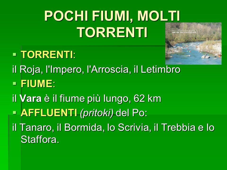 POCHI FIUMI, MOLTI TORRENTI TORRENTI: TORRENTI: il Roja, l'Impero, l'Arroscia, il Letimbro FIUME: FIUME: il Vara è il fiume più lungo, 62 km AFFLUENTI