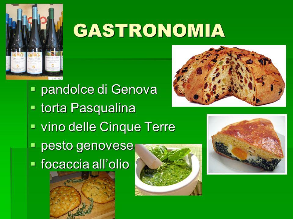 GASTRONOMIA pandolce di Genova pandolce di Genova torta Pasqualina torta Pasqualina vino delle Cinque Terre vino delle Cinque Terre pesto genovese pes