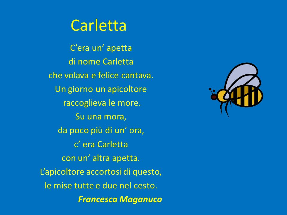 Carletta Cera un apetta di nome Carletta che volava e felice cantava. Un giorno un apicoltore raccoglieva le more. Su una mora, da poco più di un ora,