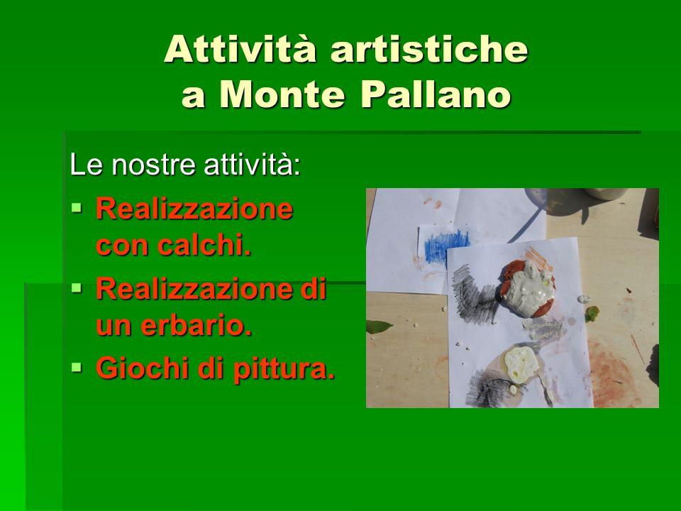 Attività artistiche a Monte Pallano Le nostre attività: Realizzazione con calchi. Realizzazione con calchi. Realizzazione di un erbario. Realizzazione