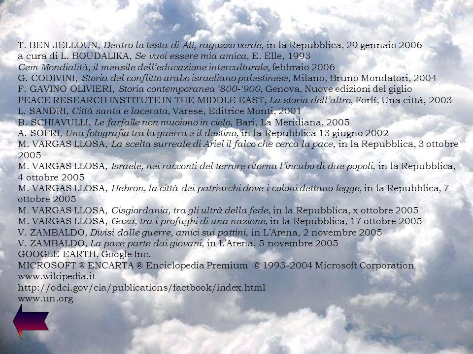 T. BEN JELLOUN, Dentro la testa di Alì, ragazzo verde, in la Repubblica, 29 gennaio 2006 a cura di L. BOUDALIKA, Se vuoi essere mia amica, E. Elle, 19
