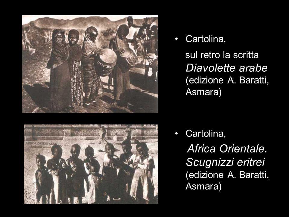 Cartolina, sul retro la scritta Diavolette arabe (edizione A. Baratti, Asmara) Cartolina, Africa Orientale. Scugnizzi eritrei (edizione A. Baratti, As