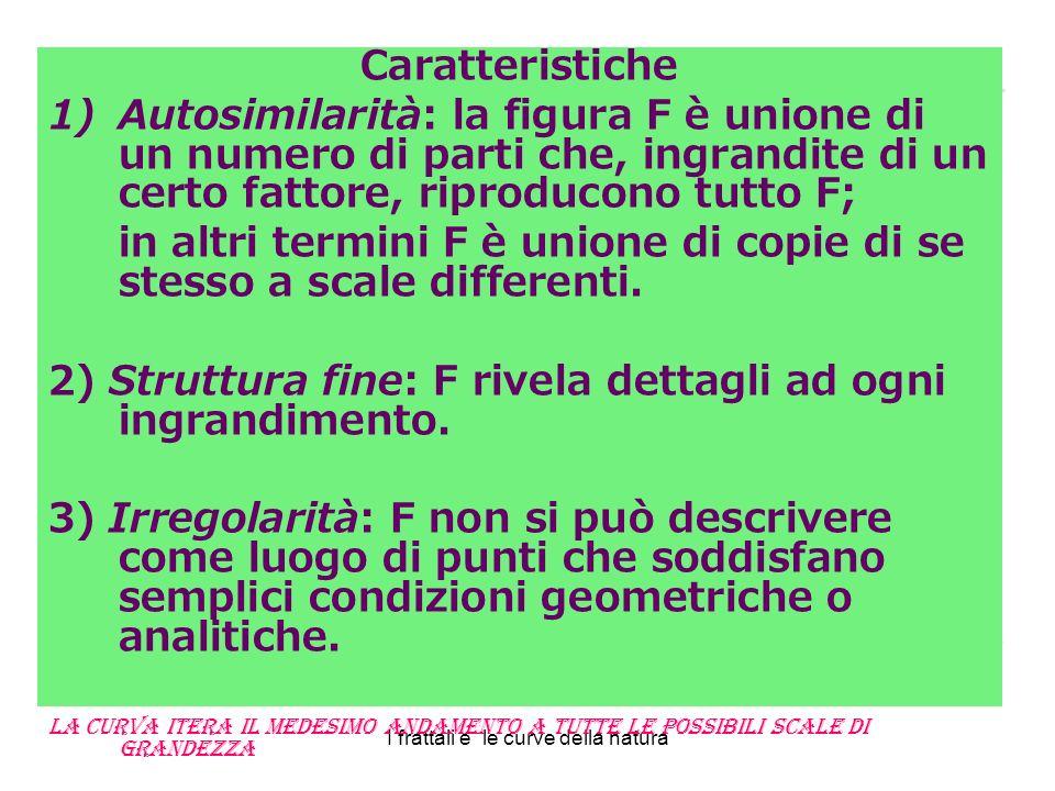 Caratteristiche 1)Autosimilarità: la figura F è unione di un numero di parti che, ingrandite di un certo fattore, riproducono tutto F; in altri termini F è unione di copie di se stesso a scale differenti.