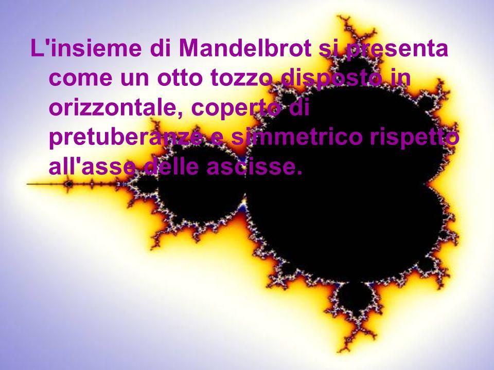I frattali e le curve della natura L insieme di Mandelbrot si presenta come un otto tozzo disposto in orizzontale, coperto di pretuberanze e simmetrico rispetto all asse delle ascisse.