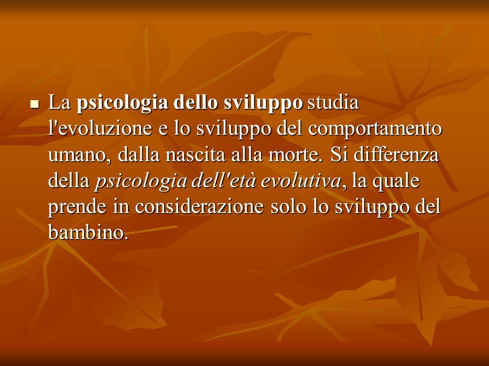 La psicologia dello sviluppo studia l'evoluzione e lo sviluppo del comportamento umano, dalla nascita alla morte. Si differenza della psicologia dell'