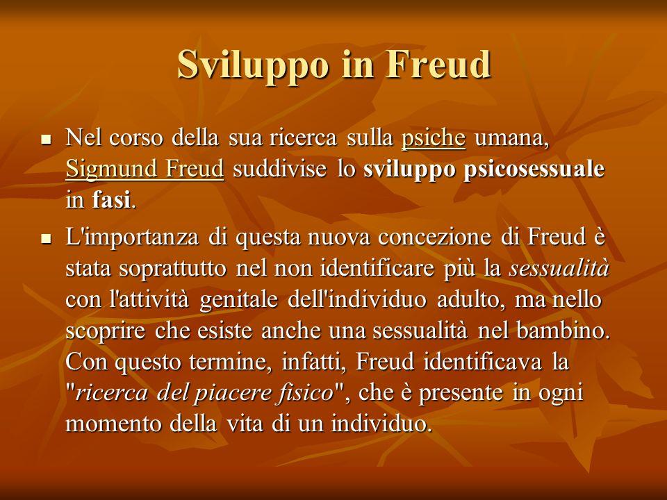 Sviluppo in Freud Nel corso della sua ricerca sulla psiche umana, Sigmund Freud suddivise lo sviluppo psicosessuale in fasi. Nel corso della sua ricer