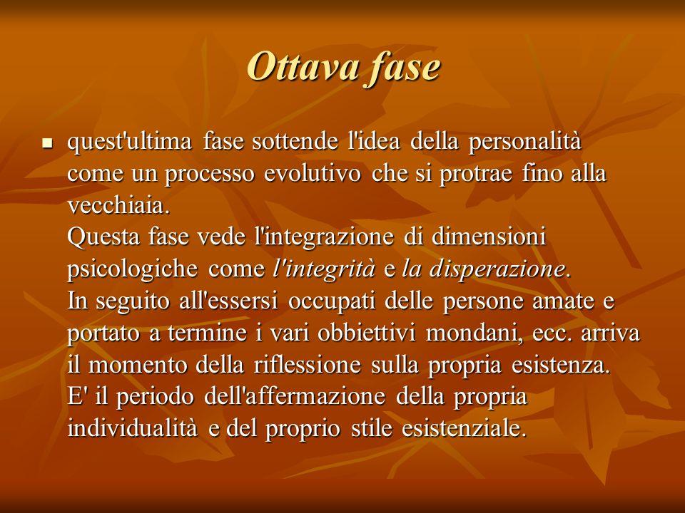 Ottava fase quest'ultima fase sottende l'idea della personalità come un processo evolutivo che si protrae fino alla vecchiaia. Questa fase vede l'inte