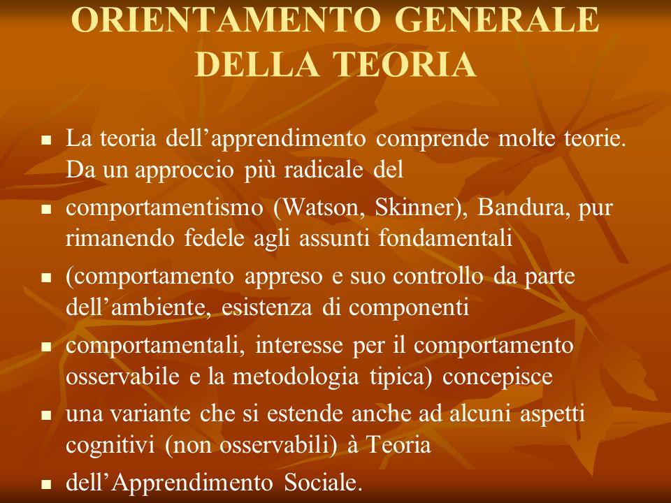 ORIENTAMENTO GENERALE DELLA TEORIA La teoria dellapprendimento comprende molte teorie. Da un approccio più radicale del comportamentismo (Watson, Skin