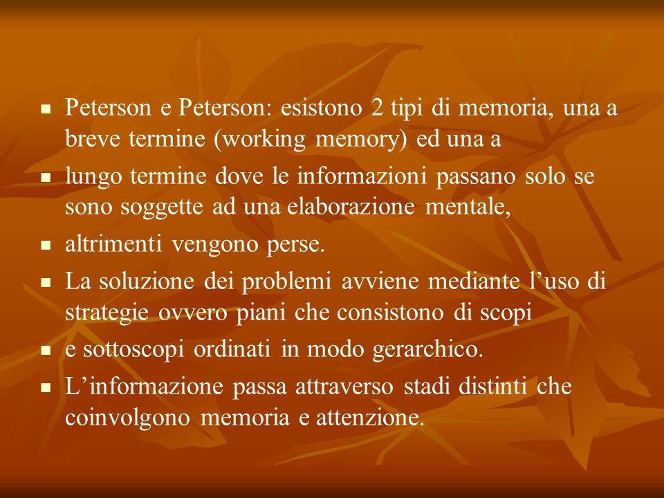 Peterson e Peterson: esistono 2 tipi di memoria, una a breve termine (working memory) ed una a lungo termine dove le informazioni passano solo se sono