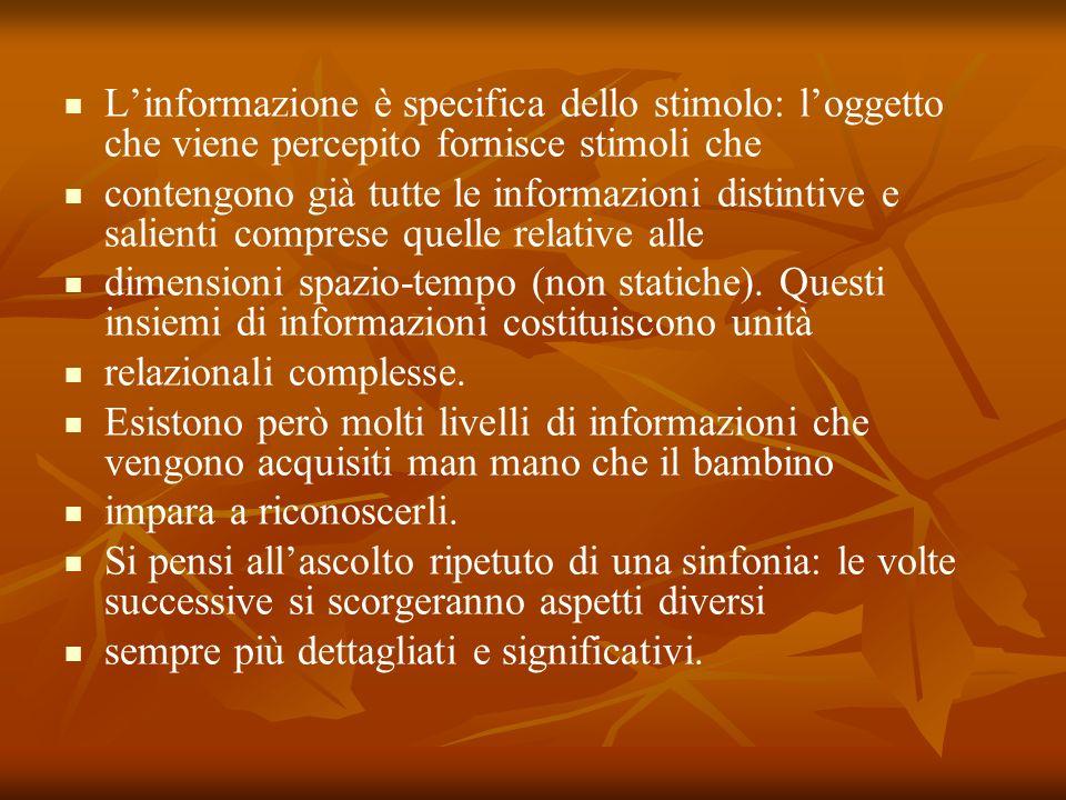 Linformazione è specifica dello stimolo: loggetto che viene percepito fornisce stimoli che contengono già tutte le informazioni distintive e salienti