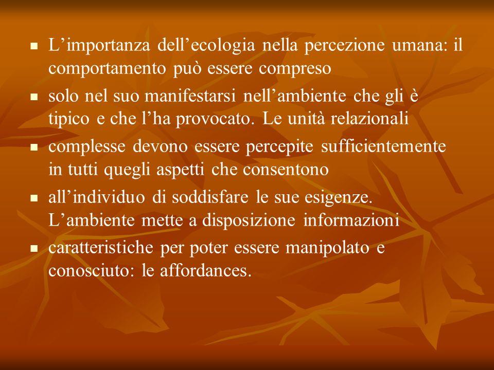 Limportanza dellecologia nella percezione umana: il comportamento può essere compreso solo nel suo manifestarsi nellambiente che gli è tipico e che lh