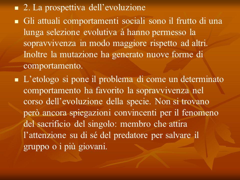2. La prospettiva dellevoluzione Gli attuali comportamenti sociali sono il frutto di una lunga selezione evolutiva à hanno permesso la sopravvivenza i
