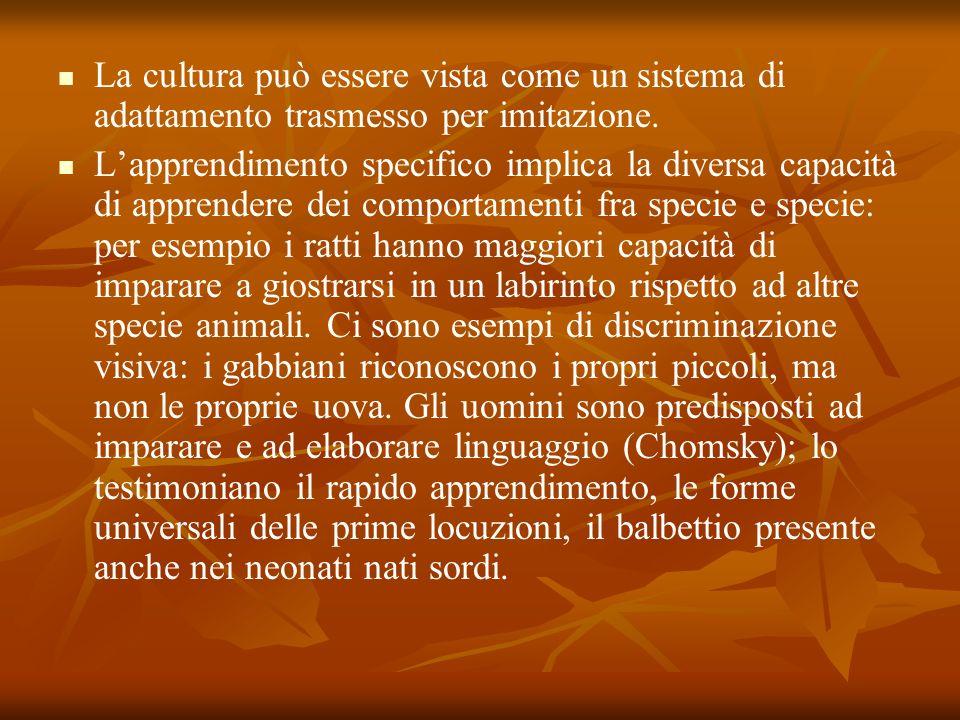 La cultura può essere vista come un sistema di adattamento trasmesso per imitazione. Lapprendimento specifico implica la diversa capacità di apprender