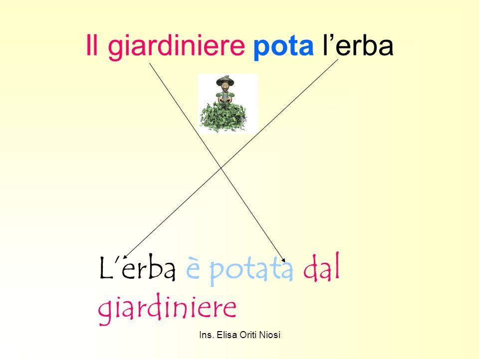 Ins. Elisa Oriti Niosi Il giardiniere pota lerba Lerba è potata dal giardiniere