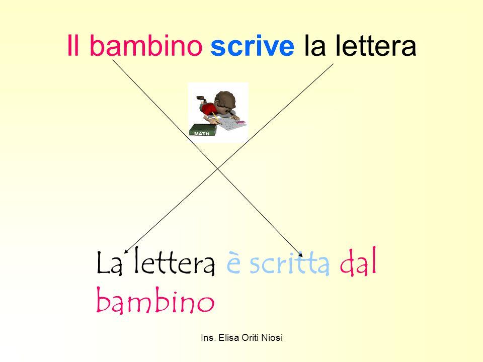 Ins. Elisa Oriti Niosi Il bambino scrive la lettera La lettera è scritta dal bambino