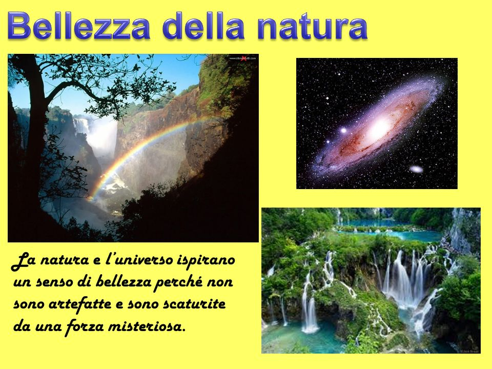 La natura e luniverso ispirano un senso di bellezza perché non sono artefatte e sono scaturite da una forza misteriosa.