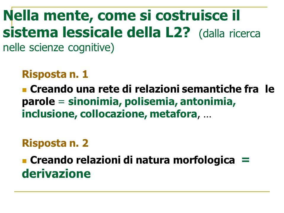 Nella mente, come si costruisce il sistema lessicale della L2? (dalla ricerca nelle scienze cognitive) Risposta n. 1 Creando una rete di relazioni sem