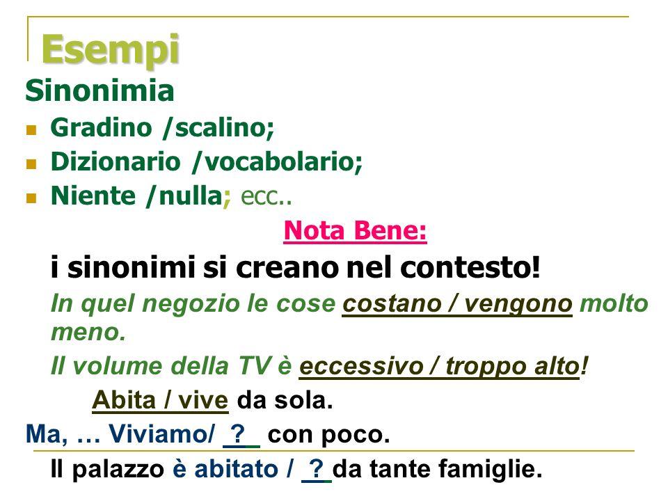 Esempi Sinonimia Gradino /scalino; Dizionario /vocabolario; Niente /nulla; ecc.. Nota Bene: i sinonimi si creano nel contesto! In quel negozio le cose