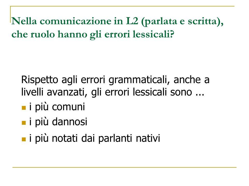 Nella comunicazione in L2 (parlata e scritta), che ruolo hanno gli errori lessicali? Rispetto agli errori grammaticali, anche a livelli avanzati, gli