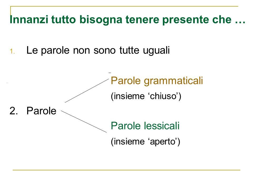 Innanzi tutto bisogna tenere presente che … 1. Le parole non sono tutte uguali Parole grammaticali (insieme chiuso) 2. Parole Parole lessicali (insiem