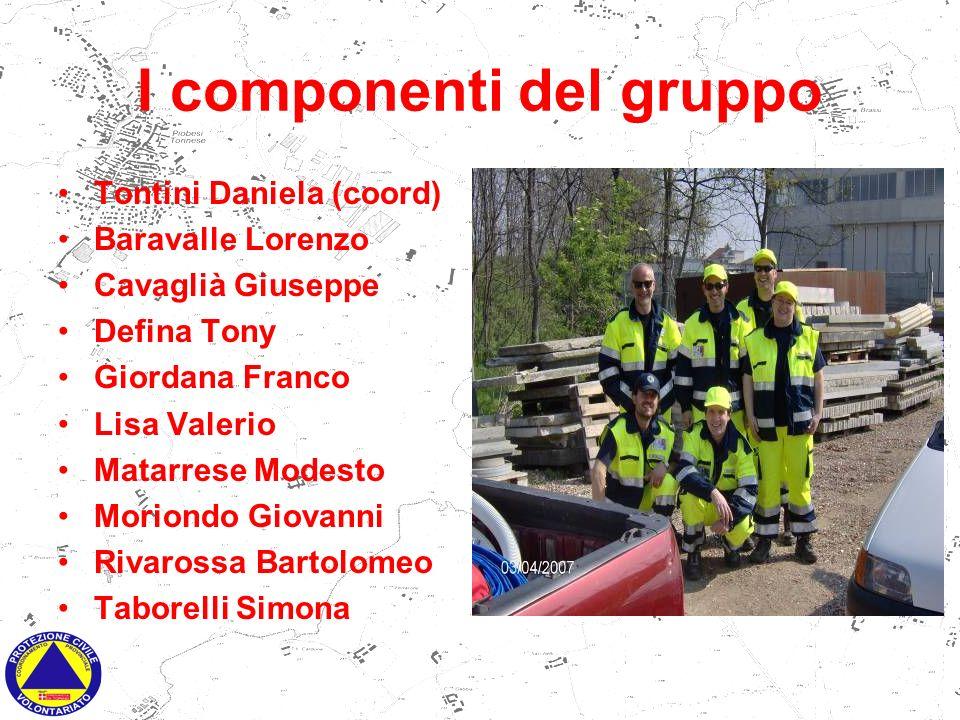 I componenti del gruppo Tontini Daniela (coord) Baravalle Lorenzo Cavaglià Giuseppe Defina Tony Giordana Franco Lisa Valerio Matarrese Modesto Moriond