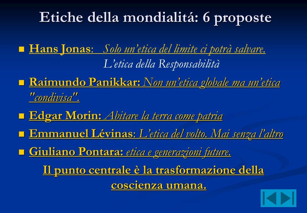 Etiche della mondialitá: 6 proposte Etiche della mondialitá: 6 proposte Hans Jonas: Solo unetica del limite ci potrà salvare. Letica della Responsabil