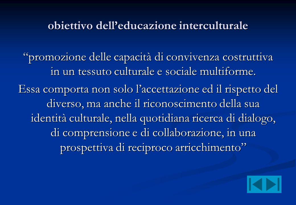obiettivo delleducazione interculturale promozione delle capacità di convivenza costruttiva in un tessuto culturale e sociale multiforme. Essa comport