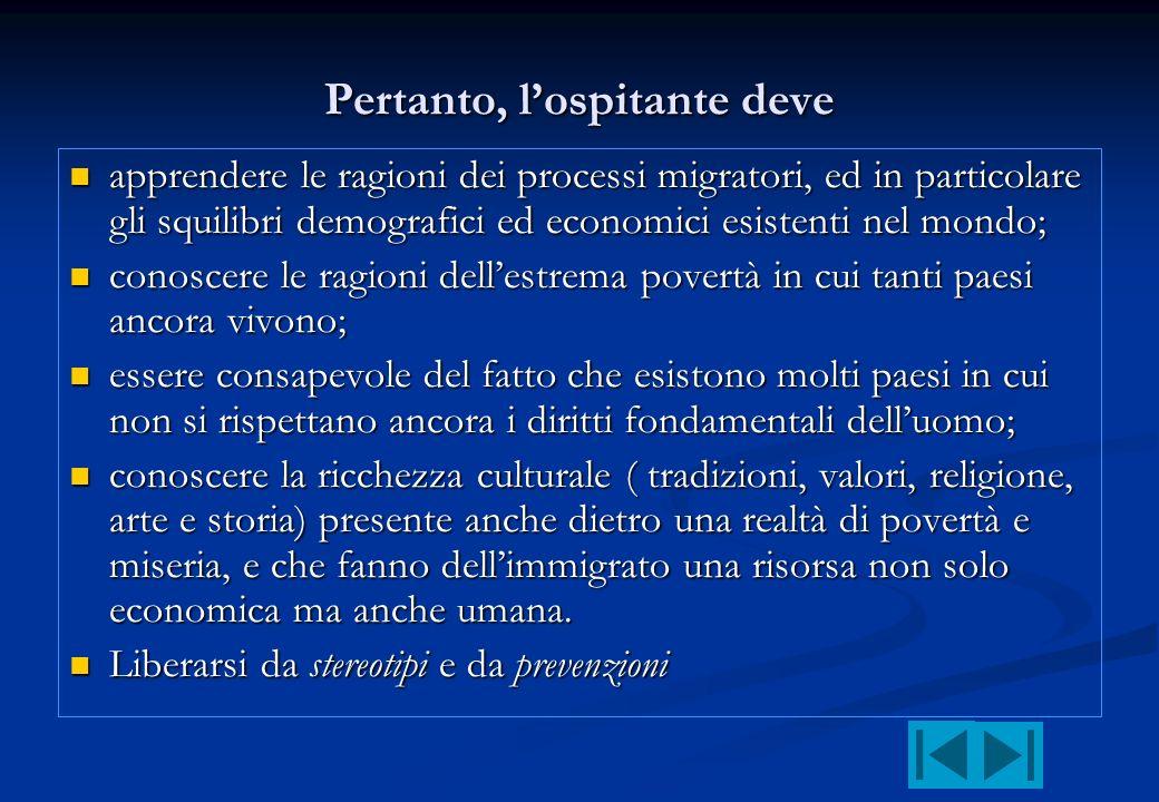 Pertanto, lospitante deve apprendere le ragioni dei processi migratori, ed in particolare gli squilibri demografici ed economici esistenti nel mondo;