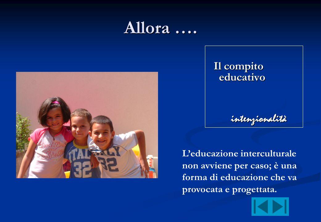 Allora …. Il compito educativo intenzionalità Leducazione interculturale non avviene per caso; è una forma di educazione che va provocata e progettata