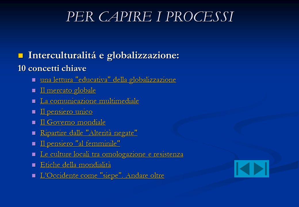PER CAPIRE I PROCESSI Interculturalitá e globalizzazione: Interculturalitá e globalizzazione: 10 concetti chiave una lettura