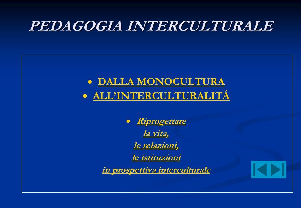 PEDAGOGIA INTERCULTURALE DALLA MONOCULTURA ALLINTERCULTURALITÁ Riprogettare la vita, le relazioni, le istituzioni in prospettiva interculturale