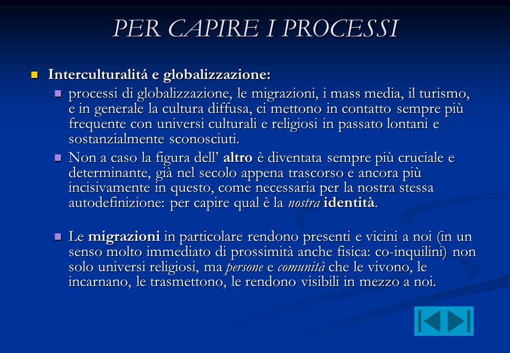 PER CAPIRE I PROCESSI Interculturalitá e globalizzazione: Interculturalitá e globalizzazione: processi di globalizzazione, le migrazioni, i mass media