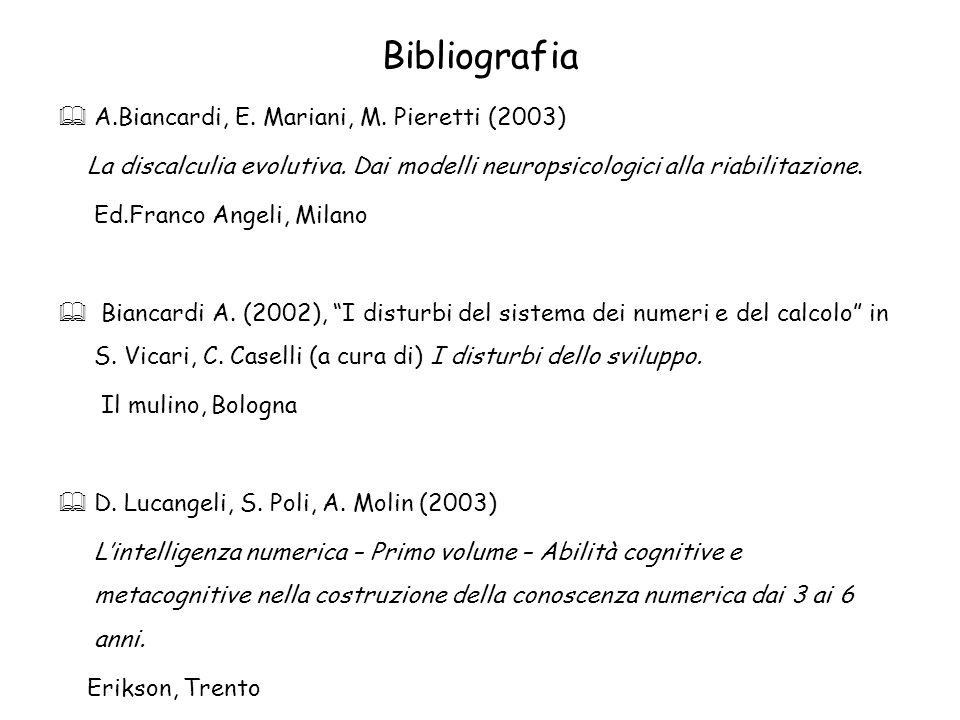 Bibliografia A.Biancardi, E. Mariani, M. Pieretti (2003) La discalculia evolutiva. Dai modelli neuropsicologici alla riabilitazione. Ed.Franco Angeli,