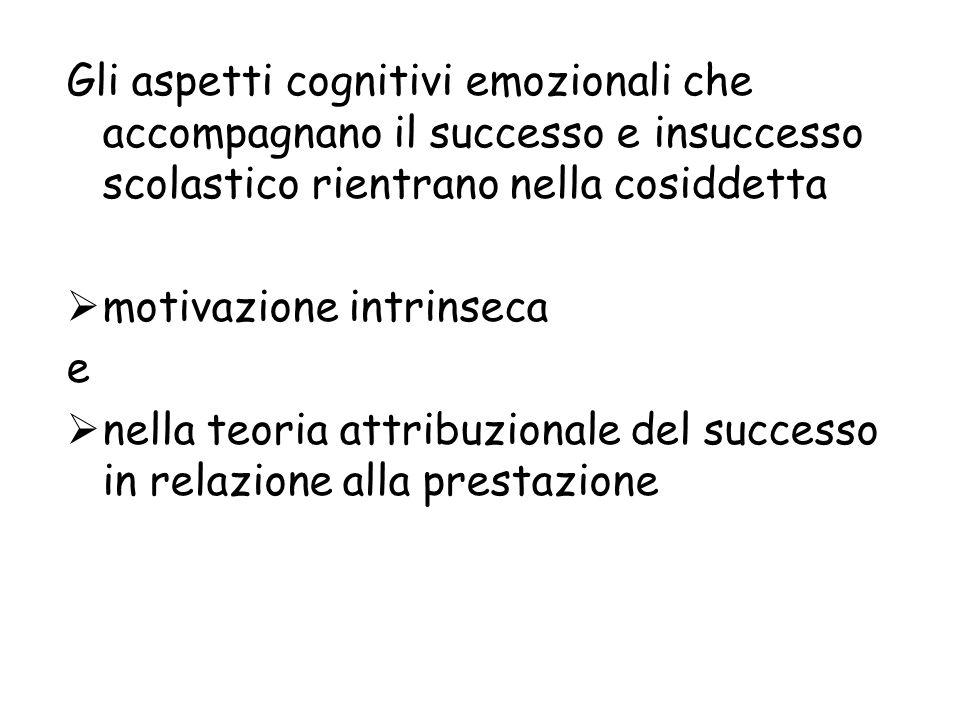 Gli aspetti cognitivi emozionali che accompagnano il successo e insuccesso scolastico rientrano nella cosiddetta motivazione intrinseca e nella teoria