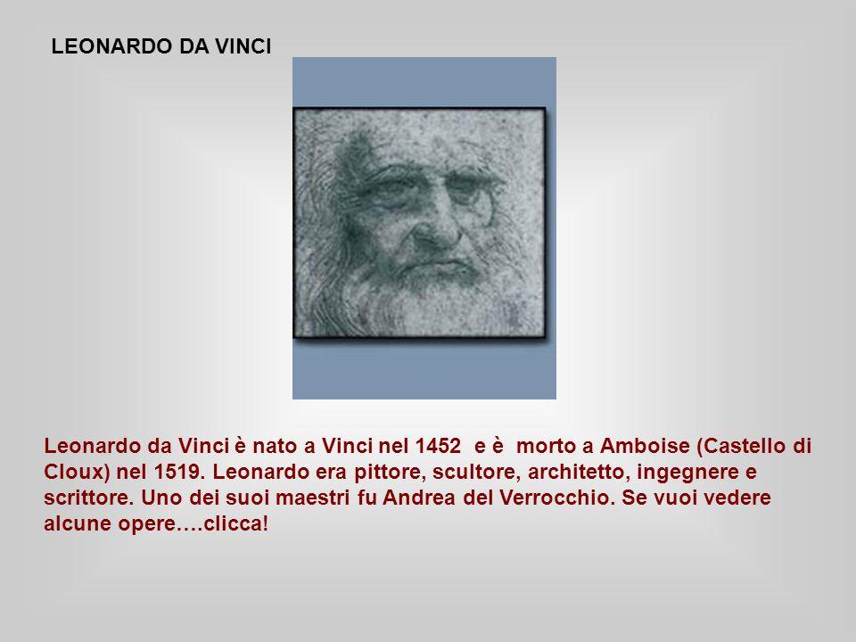 LEONARDO DA VINCI Leonardo da Vinci è nato a Vinci nel 1452 e è morto a Amboise (Castello di Cloux) nel 1519.