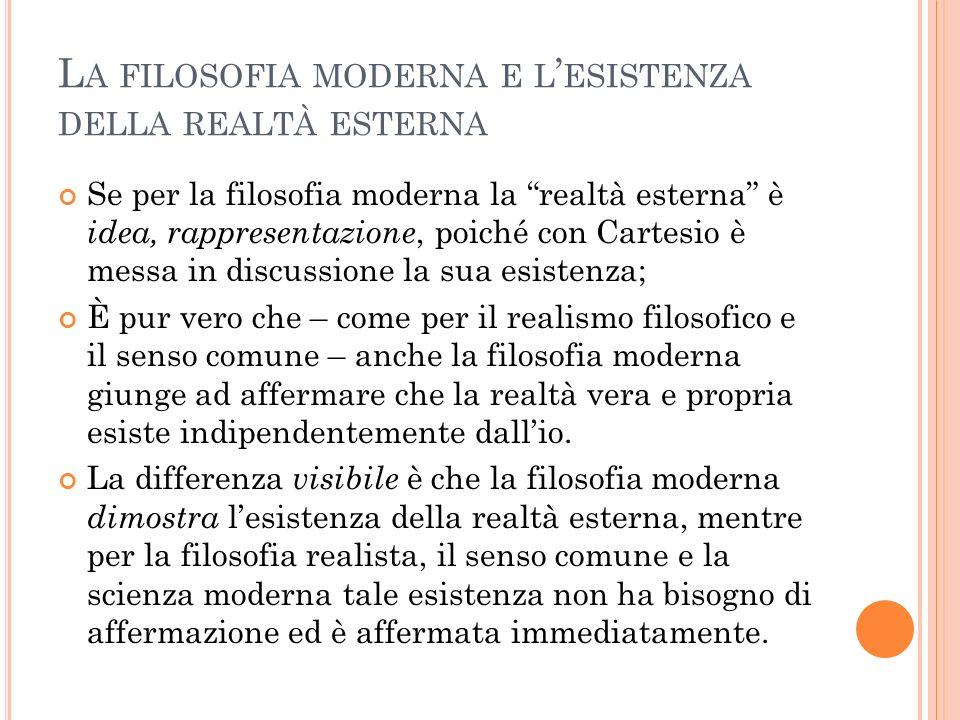 L A FILOSOFIA MODERNA E L ESISTENZA DELLA REALTÀ ESTERNA Se per la filosofia moderna la realtà esterna è idea, rappresentazione, poiché con Cartesio è