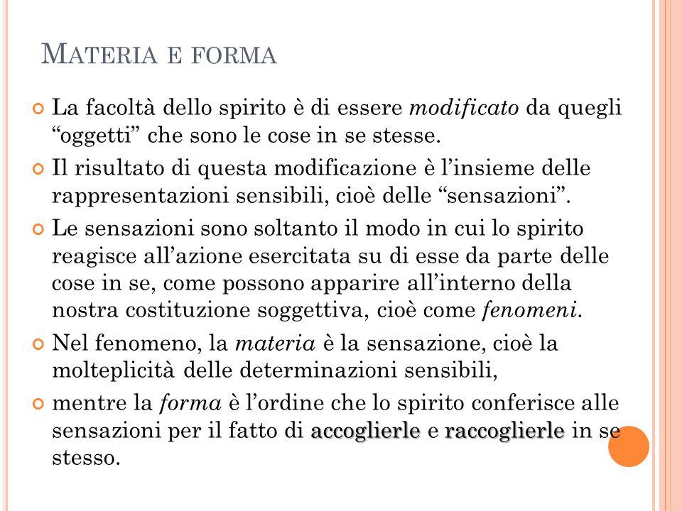 M ATERIA E FORMA La facoltà dello spirito è di essere modificato da quegli oggetti che sono le cose in se stesse. Il risultato di questa modificazione