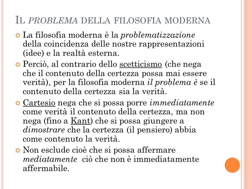 I L PROBLEMA DELLA FILOSOFIA MODERNA La filosofia moderna è la problematizzazione della coincidenza delle nostre rappresentazioni (idee) e la realtà e