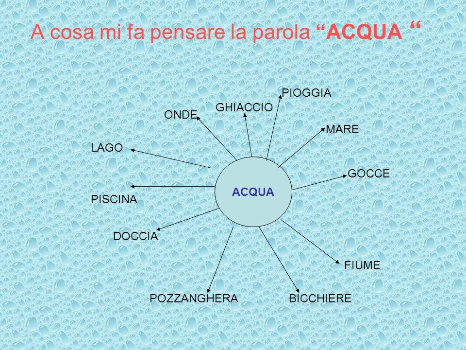 A cosa mi fa pensare la parola ACQUA ACQUA MARE GOCCE DOCCIA POZZANGHERA FIUME LAGO PISCINA ONDE BICCHIERE PIOGGIA GHIACCIO
