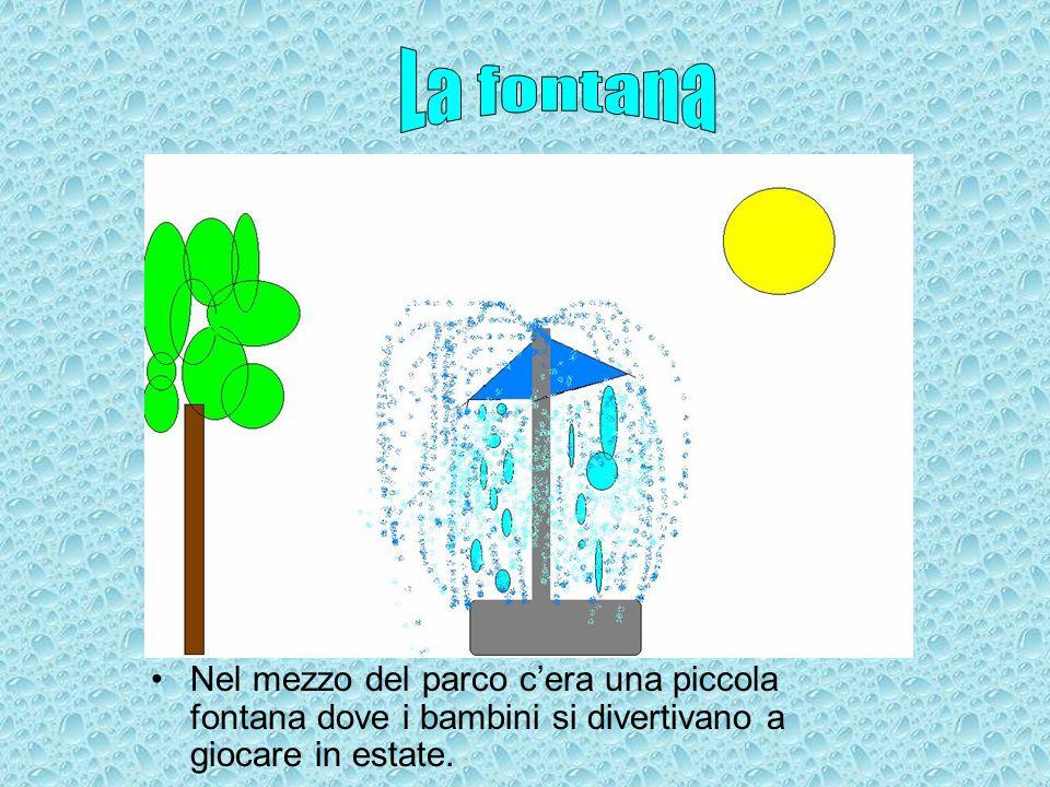 Nel mezzo del parco cera una piccola fontana dove i bambini si divertivano a giocare in estate.