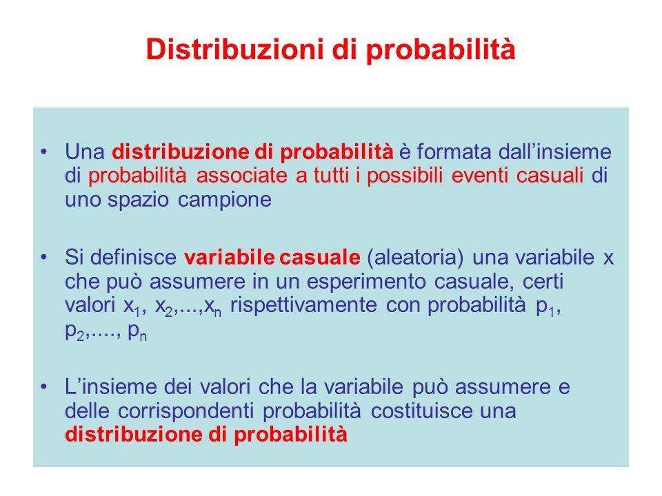Distribuzioni di probabilità Una distribuzione di probabilità è formata dallinsieme di probabilità associate a tutti i possibili eventi casuali di uno