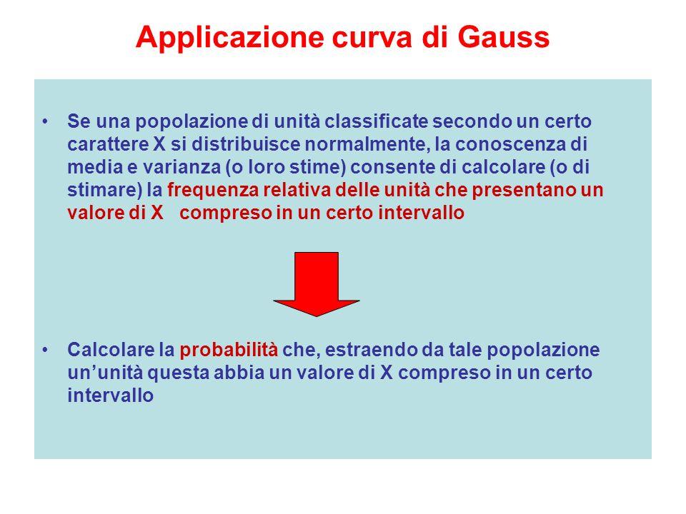Applicazione curva di Gauss Se una popolazione di unità classificate secondo un certo carattere X si distribuisce normalmente, la conoscenza di media