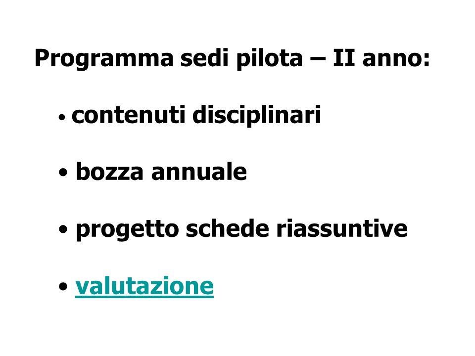 Programma sedi pilota – II anno: contenuti disciplinari bozza annuale progetto schede riassuntive valutazione