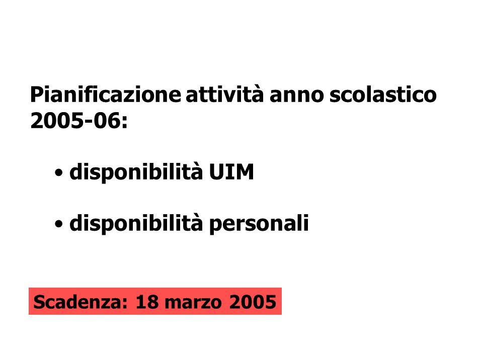 Pianificazione attività anno scolastico 2005-06: disponibilità UIM disponibilità personali Scadenza: 18 marzo 2005