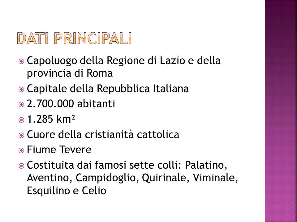 Capoluogo della Regione di Lazio e della provincia di Roma Capitale della Repubblica Italiana 2.700.000 abitanti 1.285 km² Cuore della cristianità cat